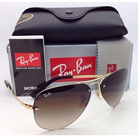 New Ray-Ban Sunglasses RB 3449 001/13 59-14 Arista Gold Frame w/ Brown Gradient