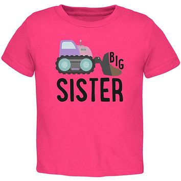 Big Sister Construction Truck Digger Toddler T Shirt
