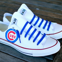 Custom Hand Painted Converse-- Chicago Cubs on Chuck Taylor All Star low top sneakers