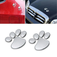New Cute 3d Car Window Bumper Body Decal Sticker Bear Dog Animal Paw Foot Prints Pattern (Color: Silver) [7735881350]