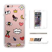 365Printing Tri Max® Cute Hipster Emoticon Pattern Clear Transparent iPhone Cases iPhone 6 6S Plus