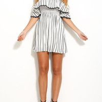 Off-Shoulder Ruffle Front Elastic Waist Vertical Stripe Dress