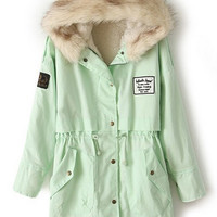 ROMWE | Drawstring Hooded Long Sleeves Light Green Coat, The Latest Street Fashion