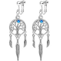 Body Candy Silver Plated Tree of Life Dreamcatcher Clip On Earrings Created with Swarovski Crystals