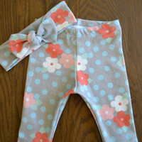 Organic Cotton Grey and Blue Dots with Flowers Legging and Top Knot Headband Set for Girls -Baby Girl Set -Organic Leggings and Headband