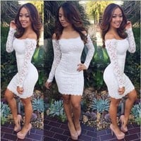 Women Fashion Summer Sexy Long Sleeve Off Shoulder Lace Hollow-out Bodycon Clubwear Mini Wrap Dress [7900932295]