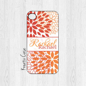 Monogrammed iPhone 5 Case, iPhone 5S Case, Floral, Personalized iPhone Cover - K043