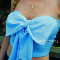 Bishop Blue Bow Front Chiffon Tube
