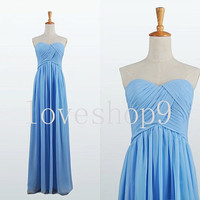 Sky blue Chiffon Prom Dress Evening Party Homecoming Bridesmaid Cocktail Formal Dress New Arrival Lovely Bridesmaid Dress