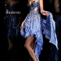 Strapless Sweetheart High Low Dress with Sequins