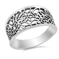 Vintage Style Sterling Silver Victorian Leaf Fashion Ring