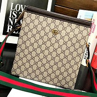 GUCCI New fashion more letter leather couple shoulder bag crossbody bag Khaki