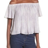 Storee Pleated Off the Shoulder Crop Top | Nordstrom