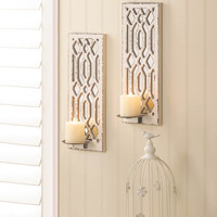 Deco Mirror Wall Candle Sconce Set