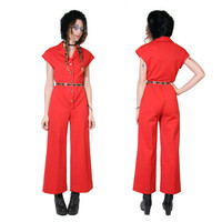 70s Jumpsuit - Red - Wide Leg - Bell Bottoms - 70s Clothing - Womens - One Piece - Jumper Romper - Vintage Glam Rock - Boho Clothing