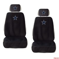 Licensed Official New NFL Dallas Cowboys Car Truck 2 Front Seat Covers with Head Rest Covers