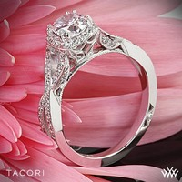 18k White Gold Tacori Dantela Pave Dazzle Diamond Engagement Ring
