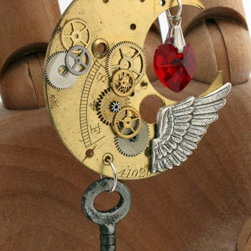 Steampunk Crescent Moon pendant with watch parts red by XercesArt