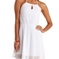White Polka Dot Lace Halter Dress by Charlotte Russe