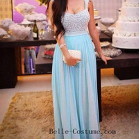 Custom-made Prom Dresses, Light Blue Prom Dresses 2016, Prom Dress, Cap Sleeve Evening Dresses