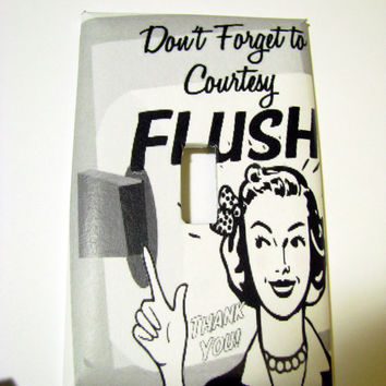 Light Switch Cover - Light Switch Plate Funny Bathroom Courtesy Flush