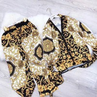 Versace Fashion Women Long Sleeve Shirt Pants Two-Piece