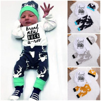 3PCS New Adorable Autumn Newborn Baby Boy Girl Tops Romper +Deer Pants Leggings Hat Outfits Clothes 0-18M