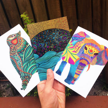 Discounted Set of 3 or 6 Greeting Cards | Thank You Card | Birthday Card | Notecard
