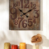 Rustic Country Wall Clock Reclaimed Wood Look Finish Primitive Unique Lodge Farm