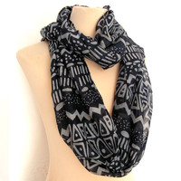White And  Navy Blue Aztec Tribal Women's Infinity Scarf - Boho Cotton Lightweight Gift Native Scarf Chevron Fashion Tube Scarves Loop Scarf