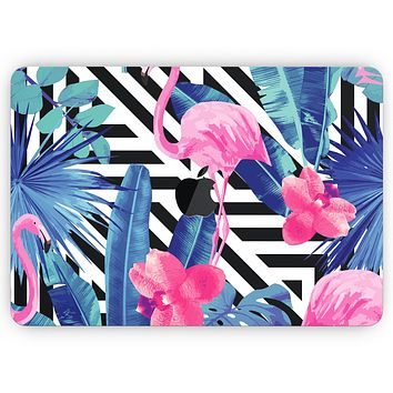 """Vivid Tropical Chevron Floral v2 - Skin Decal Wrap Kit Compatible with the Apple MacBook Pro, Pro with Touch Bar or Air (11"""", 12"""", 13"""", 15"""" & 16"""" - All Versions Available)"""