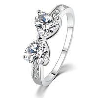Gift New Arrival Shiny Stylish Jewelry Korean Simple Design Crystal Butterfly Couple Ring [6057444801]