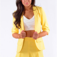 Ransley Tailored Style Two Piece Blazer And Skirt Set In Yellow