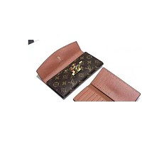 LV Women Leather Purse Wallet LV Button
