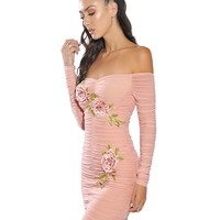 Lacey Pink Off Shoulder Ruched Flower Embellished Detail Mesh Dress
