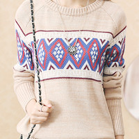 Khaki Contrast Vintage Geo Pattern Knitted Jumper
