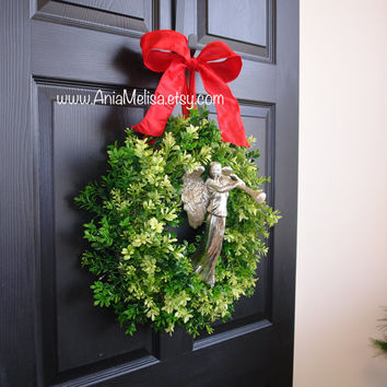 Christmas wreaths large boxwood Holidays wraths for front door wreaths, outdoor decorations evergreen wreaths