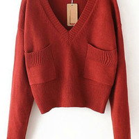 Red V Neck Long Sleeve Pockets Cropped Sweater