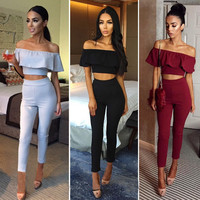 Sexy Off Shoulder 2 Piece Set Long Jumpsuit Slim Ruffles Bodycon Femme Overalls Playsuit Romper Women Jumpsuit