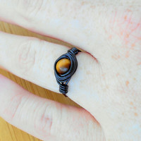 Ring, Tigers eye ring, Tigers eye jewelry,wire ring, wire wrapped ring, gemstone ring, bohemian ring, custom ring,healing jewelry,stone ring
