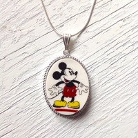 Broken China Jewelry, Disney Necklace Jewelry, Mickey Mouse Necklace, Handmade Mickey Pendant, Retro, Kitschy, Red Birthday Gift