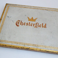 Chesterfield Cigarette Tin Vintage Case   Chesterfield Tin Cigarettes Tobacco Liggett Myers Metal Holder   Mid Century Tobacciana Collector