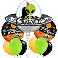 Custom, Fun & Cool 9 Pack of Helium & Air Inflatable Mylar/Latex Balloons w/ Cute Cartoon Alien & Planets Space Birthday Design [Variety Assorted Multicolor in Gray, Green, Black Orange & White]