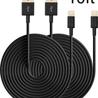 Eaglewood 2PCs 10ft Extended Extra Long 8 Pin to USB Sync and Charging Cable Charger Power Cord for iPhone 6/ 6 Plus, iPhone 5/ 5s/ 5c, iPod Touch 5th, Nano 7th, and iPad 4 Air Mini-Compatible with IOS 8 (Violet)
