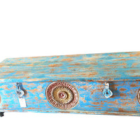 Reclaimed blue Trunk Coffee Table Vintage Chakra Design Pitara Chest Antique Indian furniture