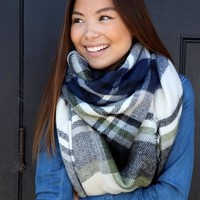 Green/Blue Plaid Blanket Scarf