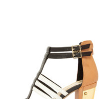 Jessica Simpson Jennisin Black, Natural, and White T-Strap Heels