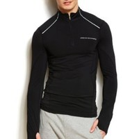 Armani Exchange Mens Performance Mesh Mockneck Top: Clothing