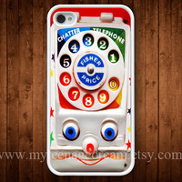 iPhone 4 Case, iPhone 4s Case, Vintage Toy Phone Pattern Print iPhone 4 Hard Case, white iPhone Case