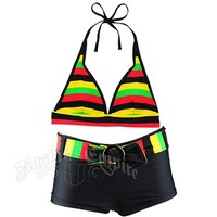 Rasta Halter & Boy Short Belt Bikini Swimsuit @ RastaEmpire.com